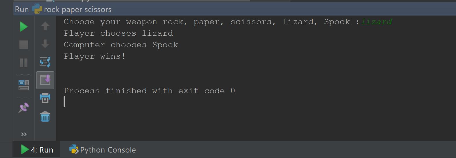 rock paper scissors result