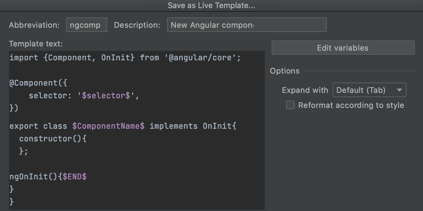 Save code fragment as live template: variables added