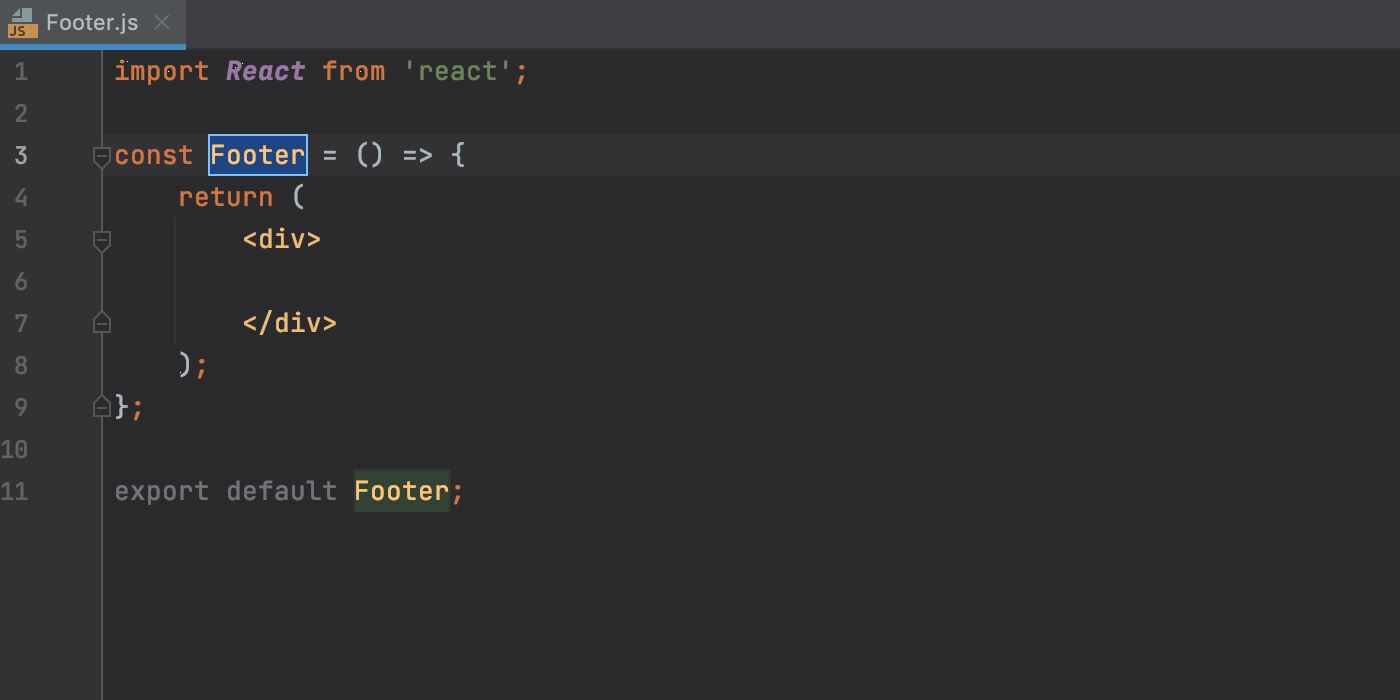 Create a React stateless component from a predefined rsc template.