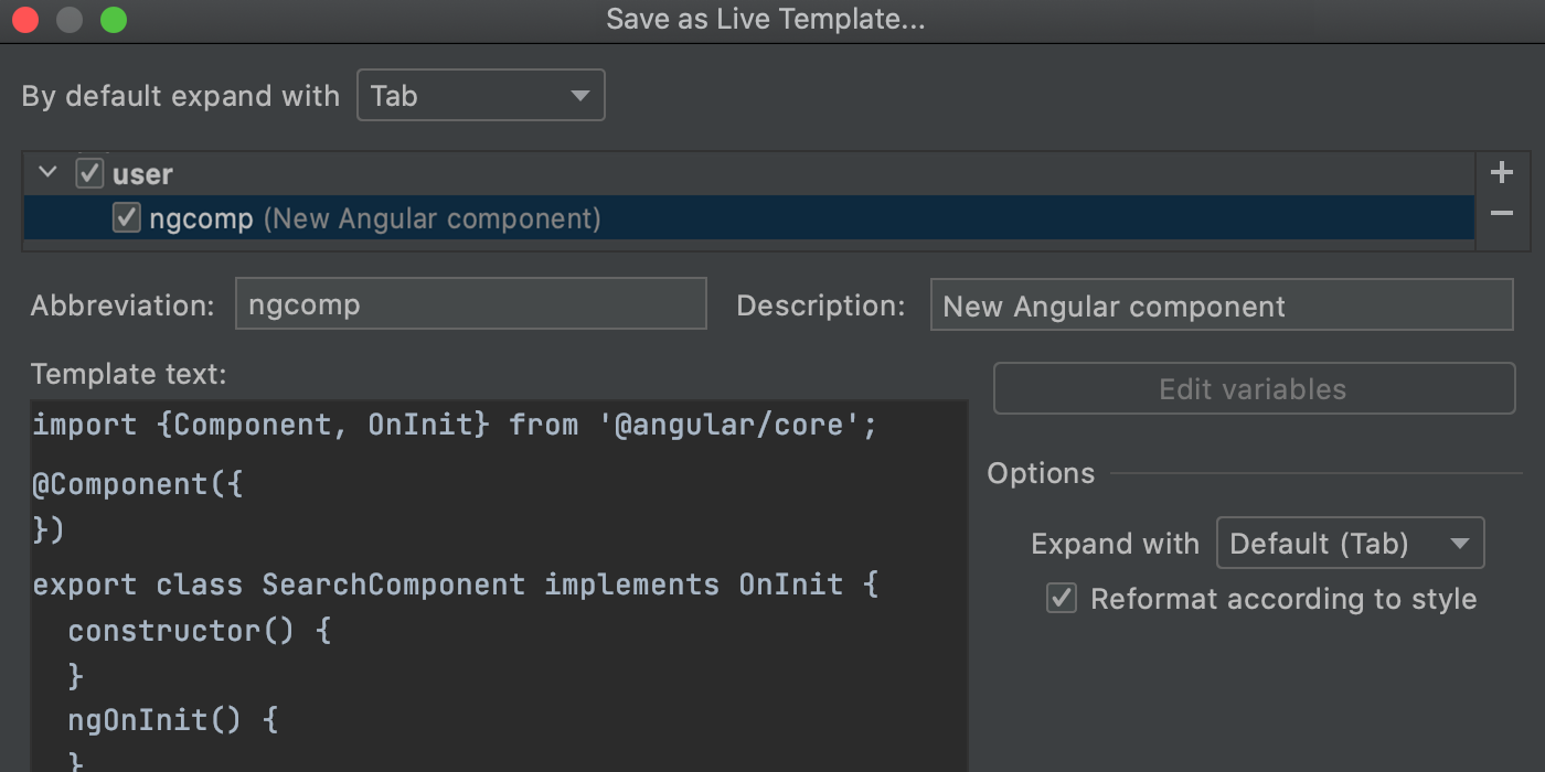 Save code fragment as live template: description and abbreviation added