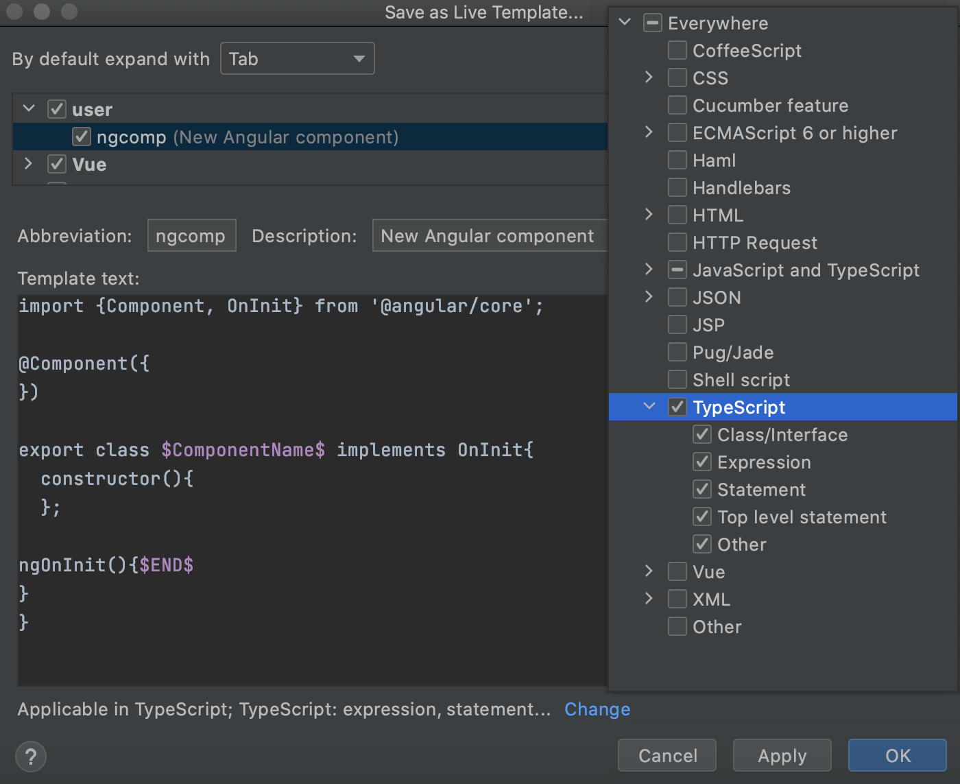 Save code fragment as live template: change context, the template is ready