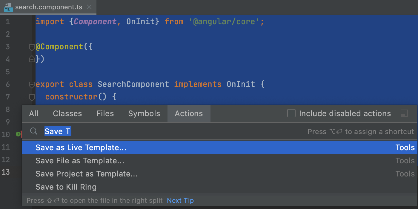 Select a code fragment to save as a live template