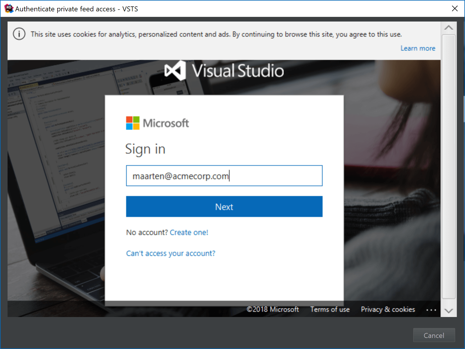 Visual Studio Team Services NuGet feed