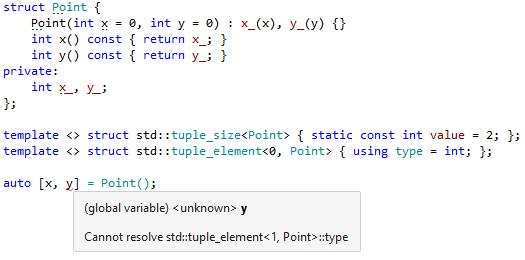 Error in structured bindings declaration