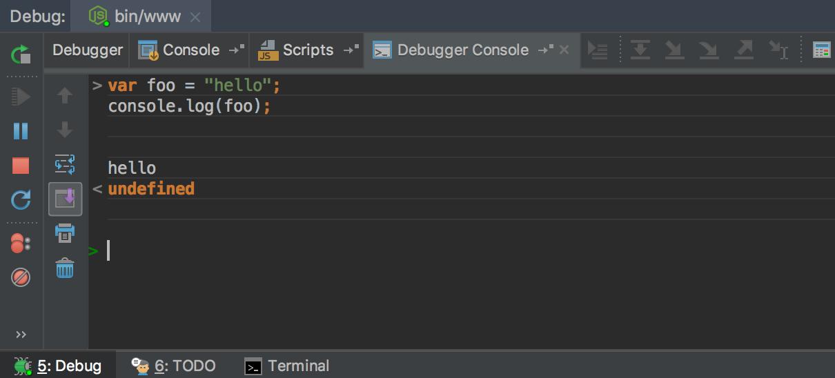 node-debug-console