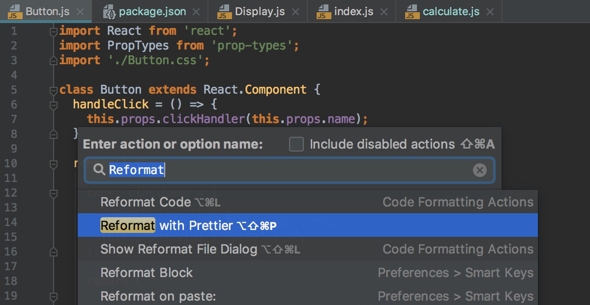 New action Reformat with Prettier