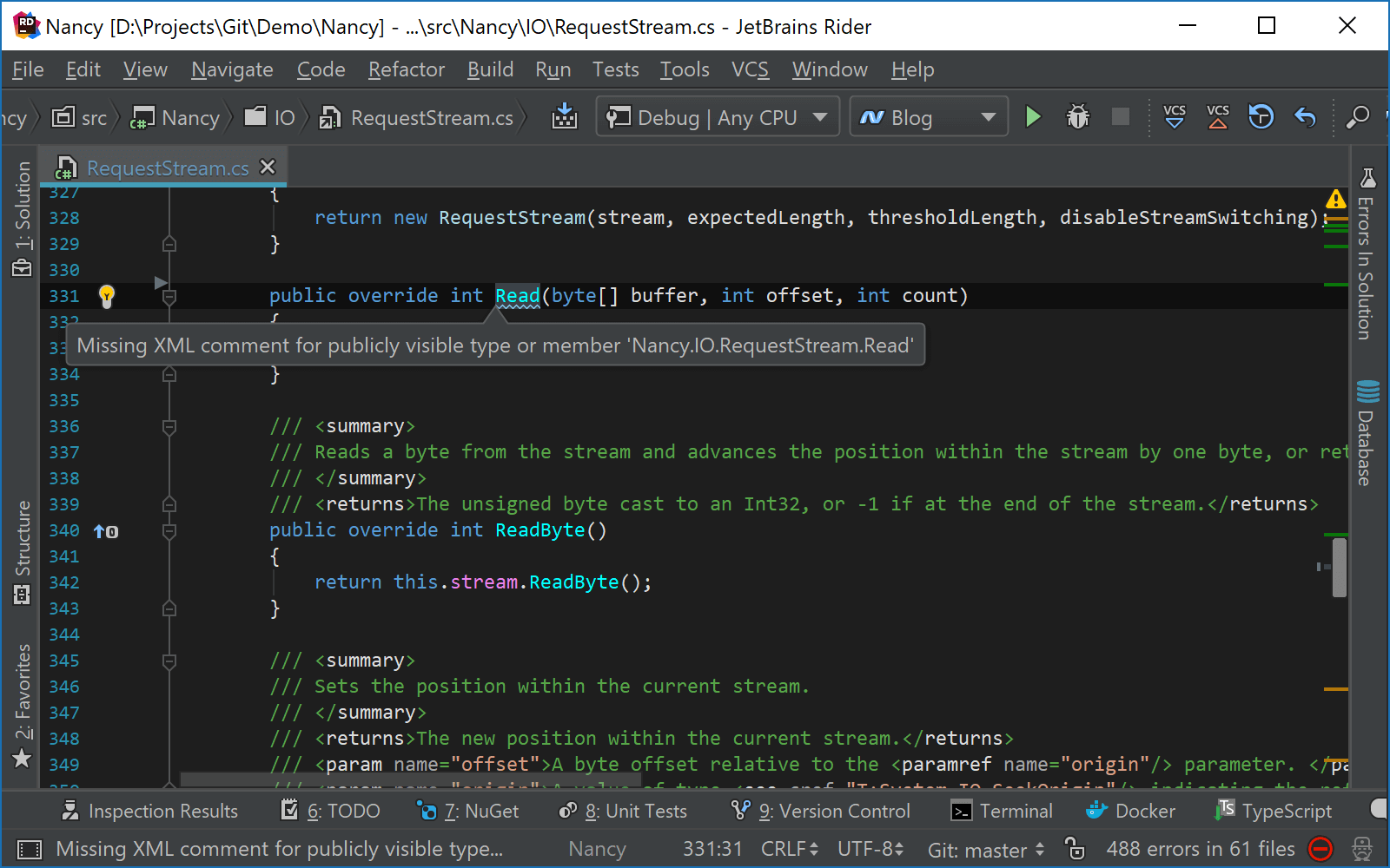 Add XMLdoc comments quick-fix