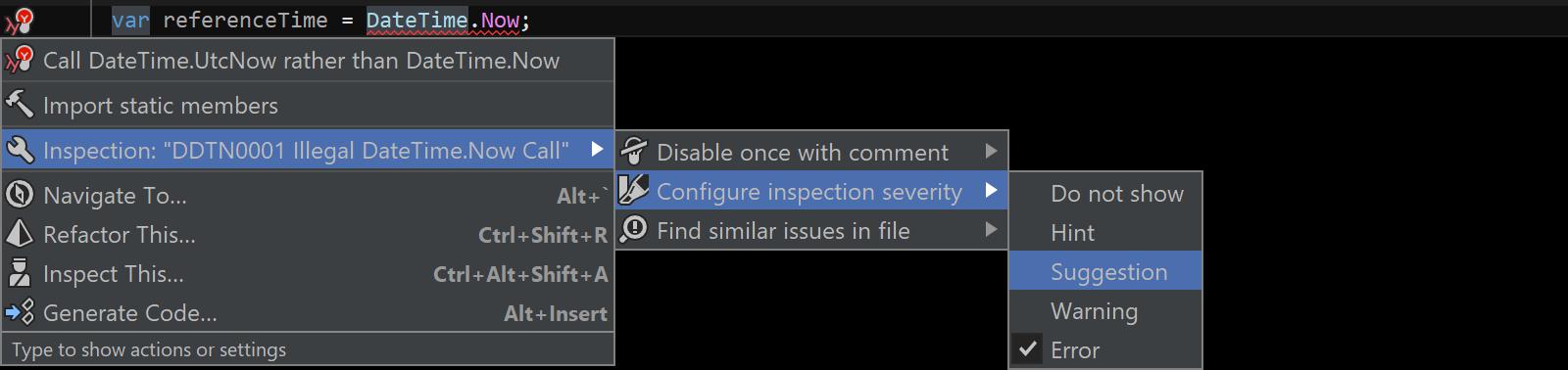 Configure severity using Alt+Enter