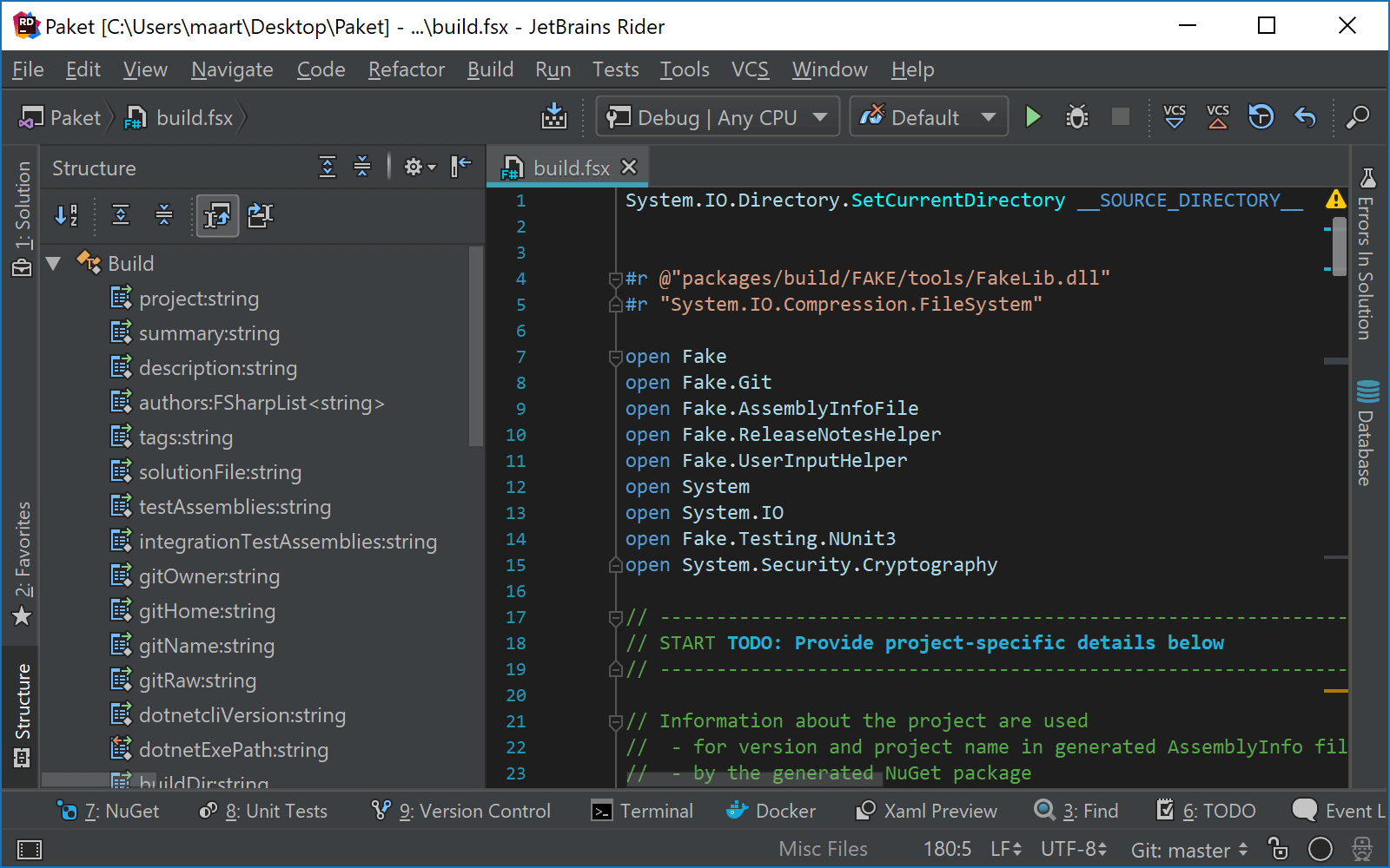 Using the file structure tool window with FSharp script files