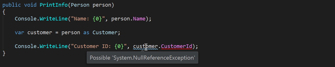 Possible NullReferenceException - inspections in action