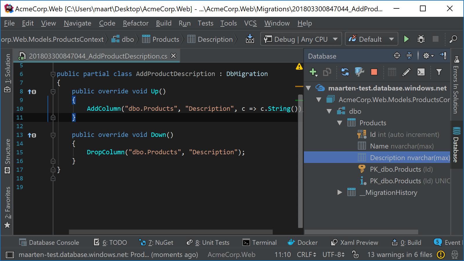 DataGrip exploring Entity Framework updates