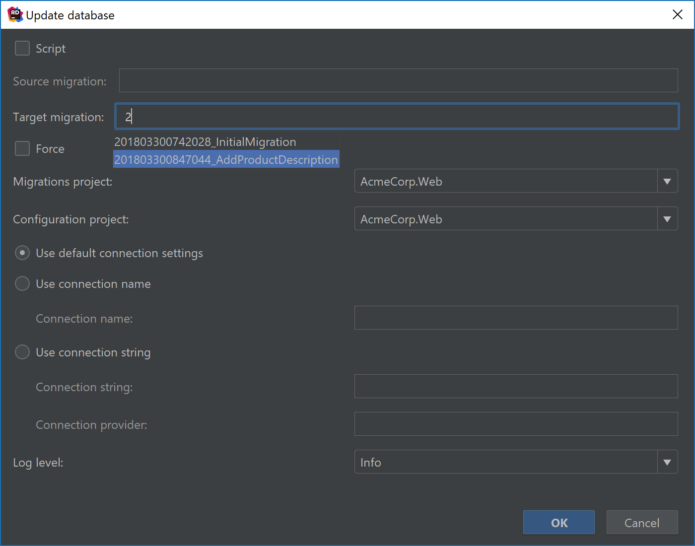 Update database running Entity Framework migration