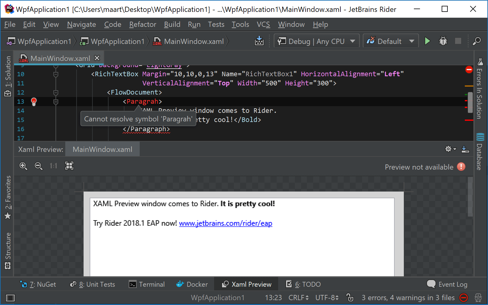 Errors in XAML markup are highlighted