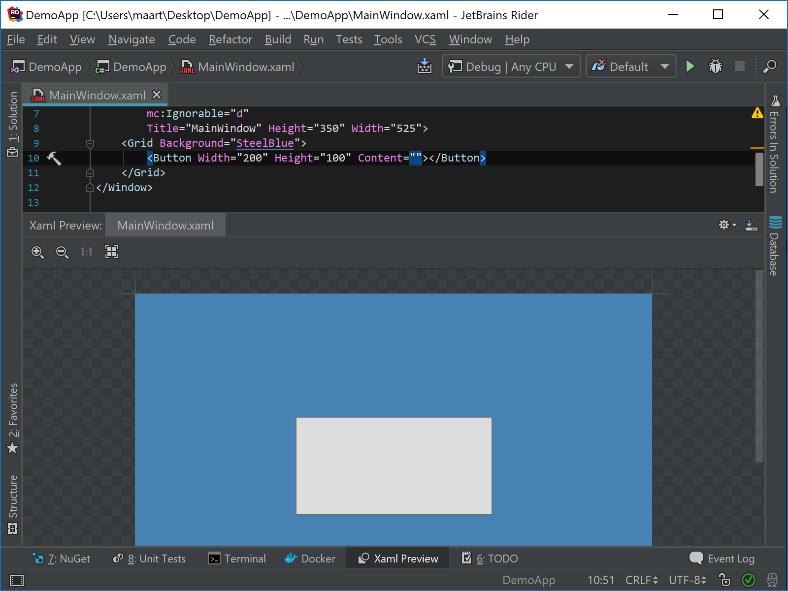 Preview XAML changes immediately using Rider WPF preview