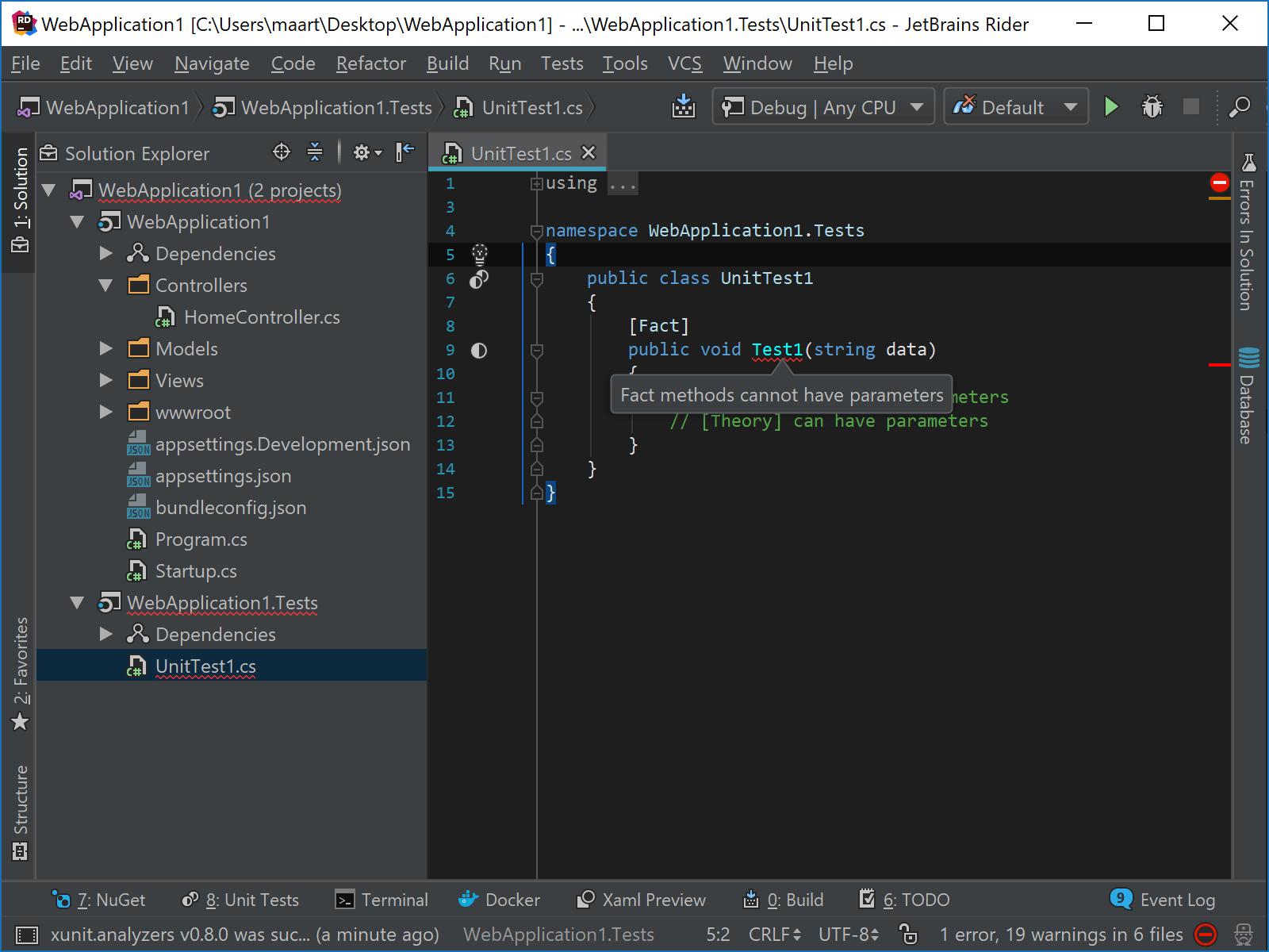 Using xUnit analyzers in JetBrains Rider