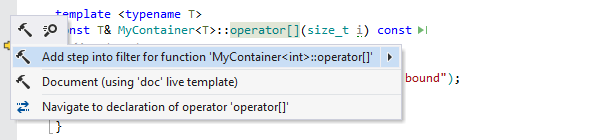A context action that adds a ReSharper step filter