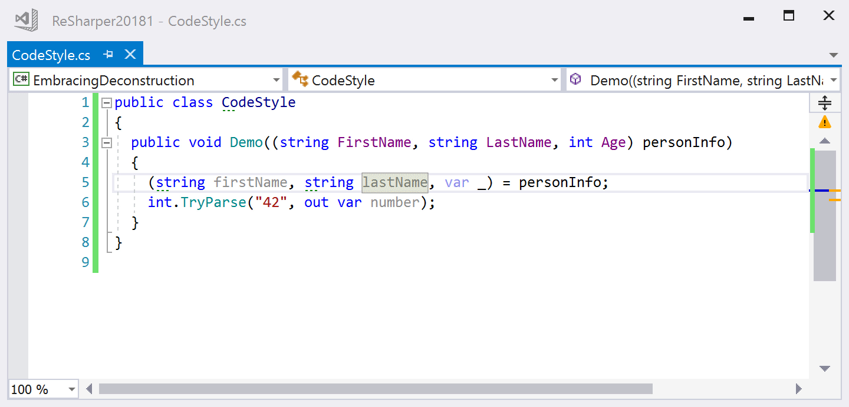 Deconstruction code style demo