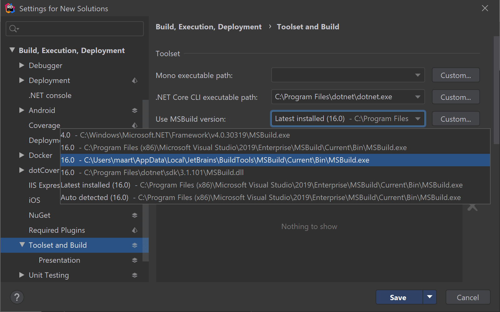 Use bundled version of MSBuild in Rider