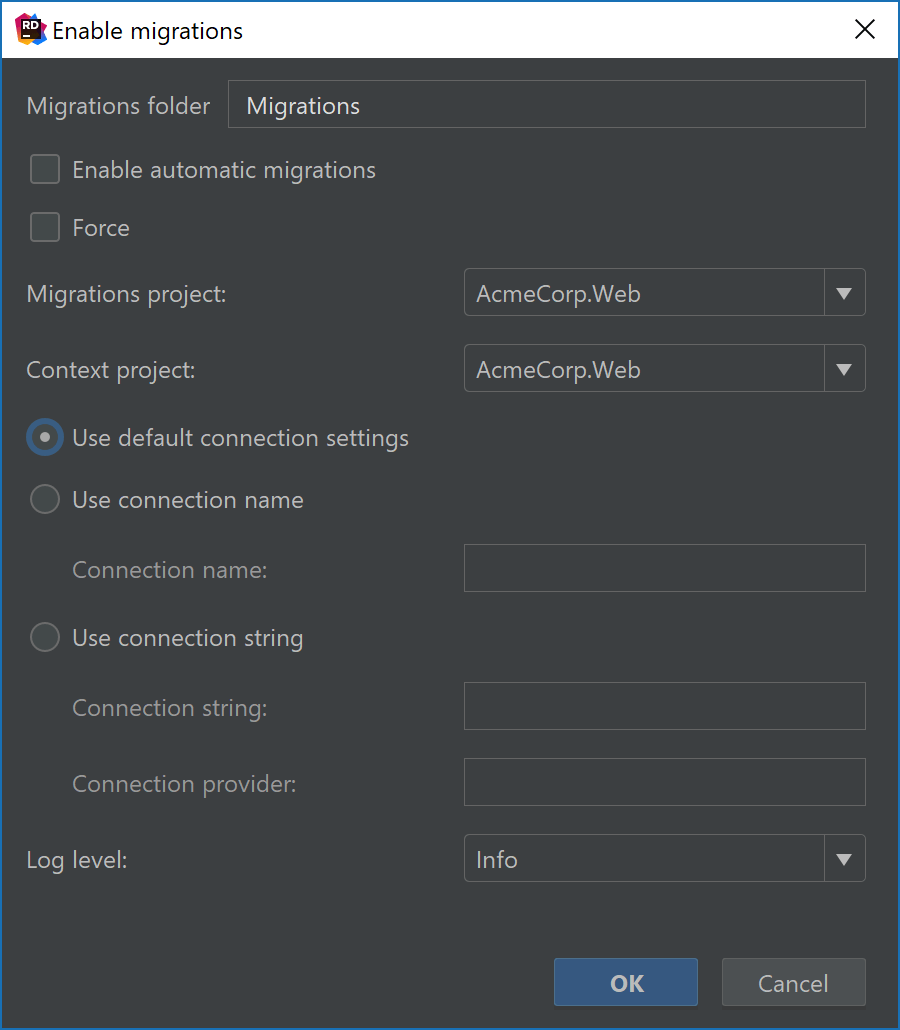 Enable migrations for Entity Framework