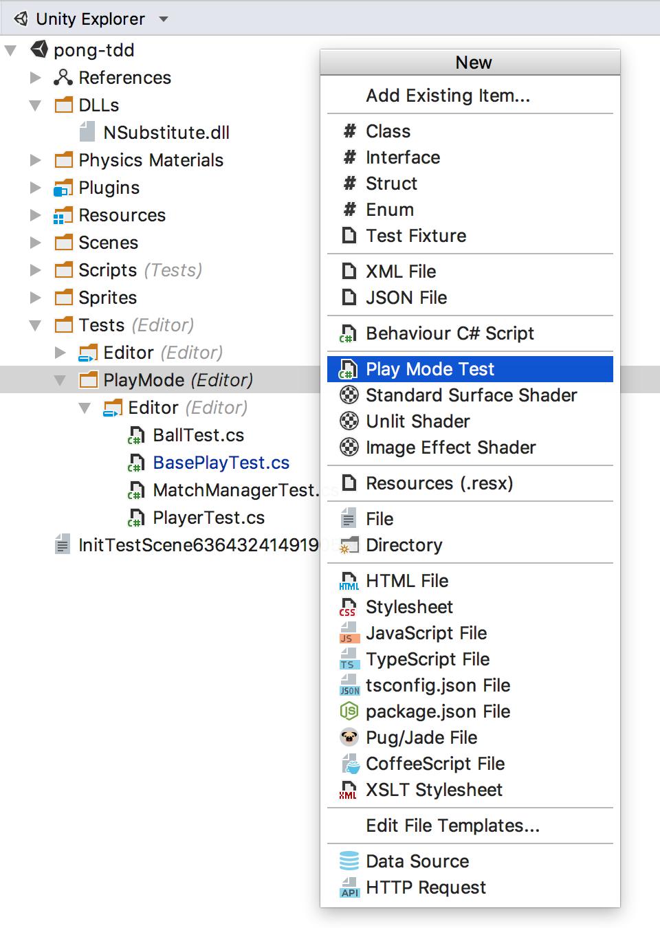 File templates menu