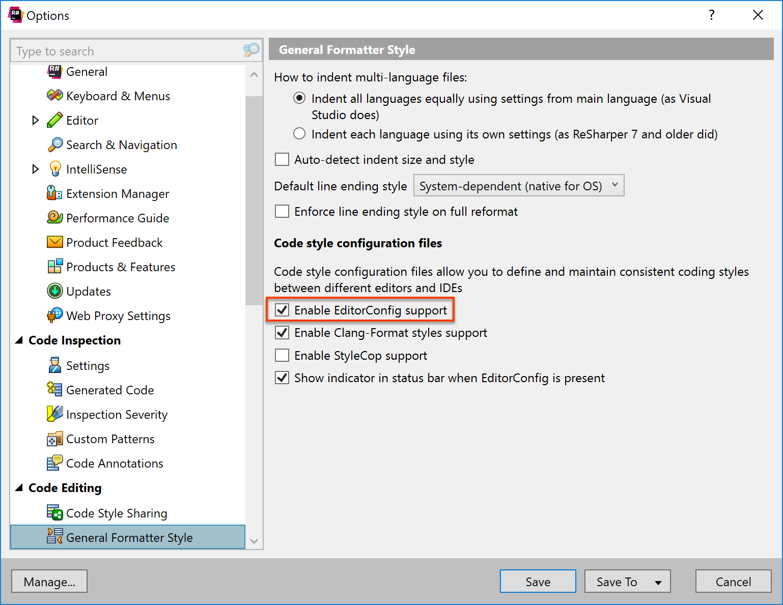 Enable reading formatting settings from editorconfig