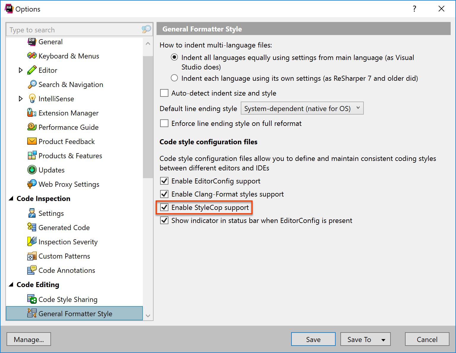 Enable reading code formatting and inspection settings from StyleCop configurations