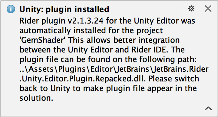 Plugin installed notification