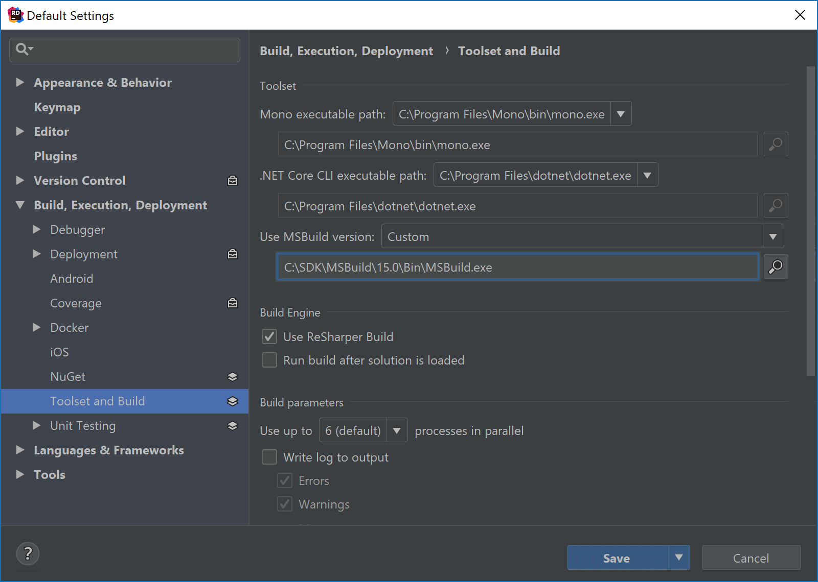 Set custom MSBuild version in JetBrains Rider