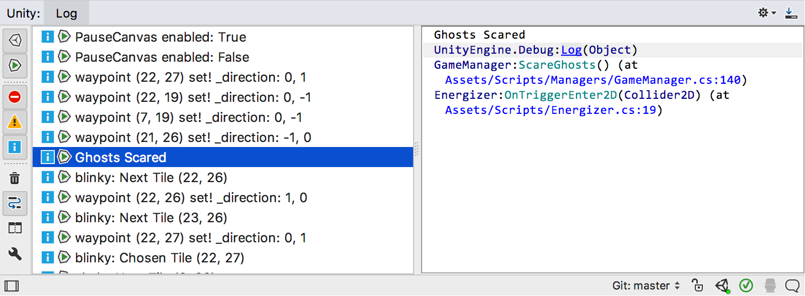 Unity log viewer tool window