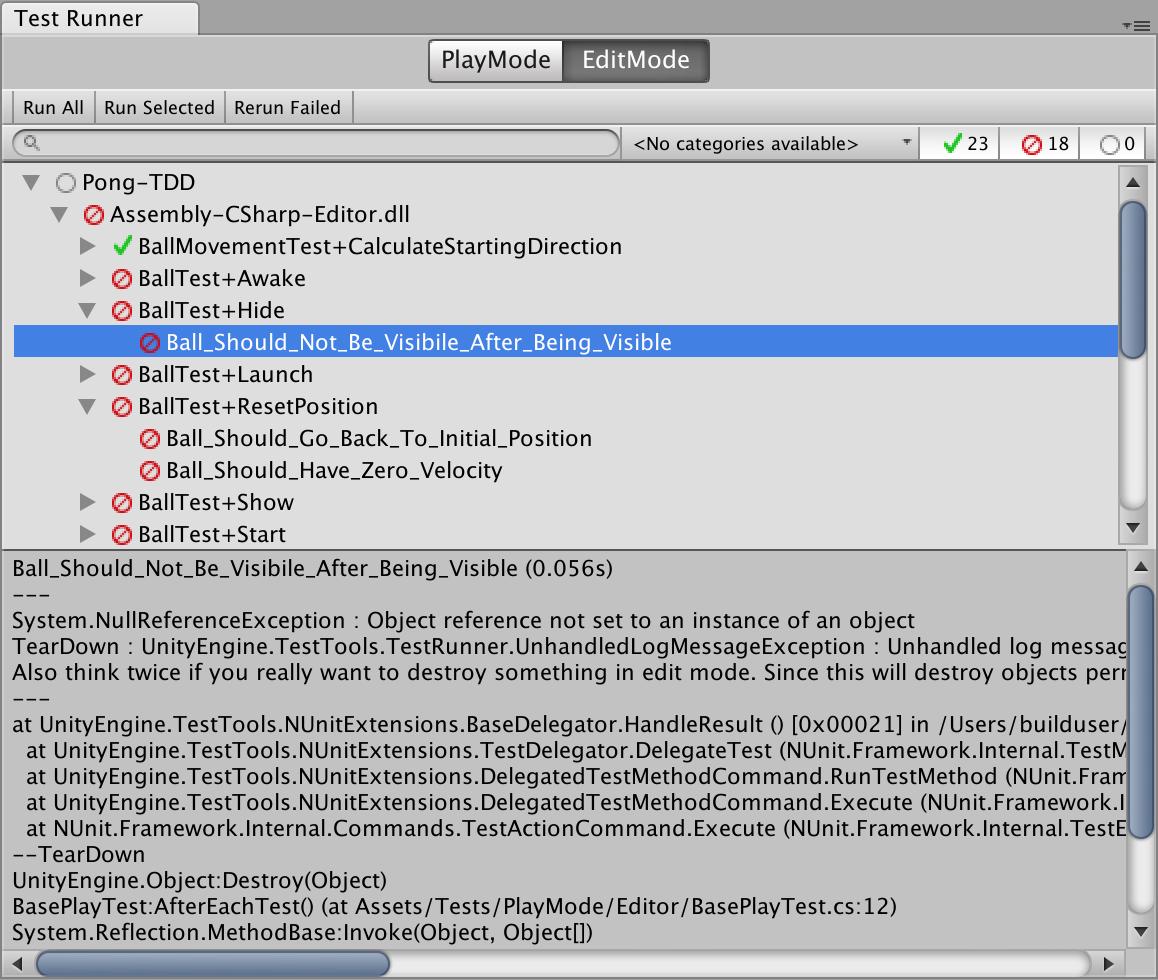 Unity editor test runner window