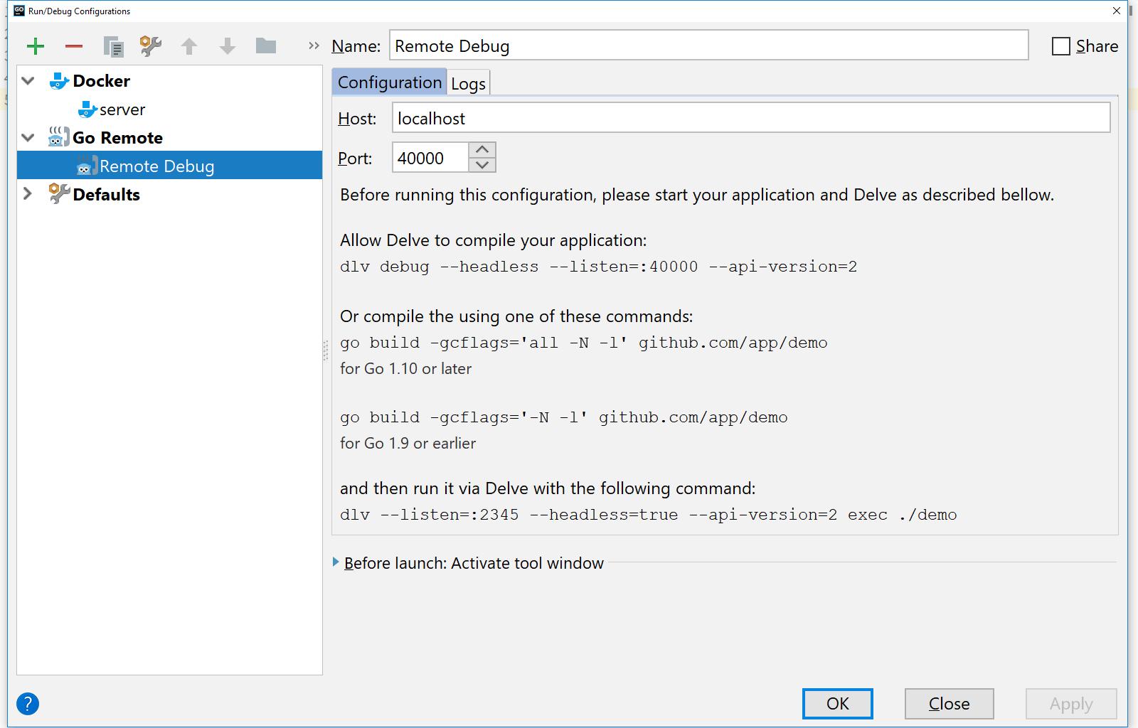 Remote Debugging Configuration