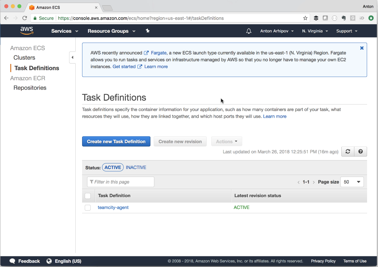 Create Fargate task definition