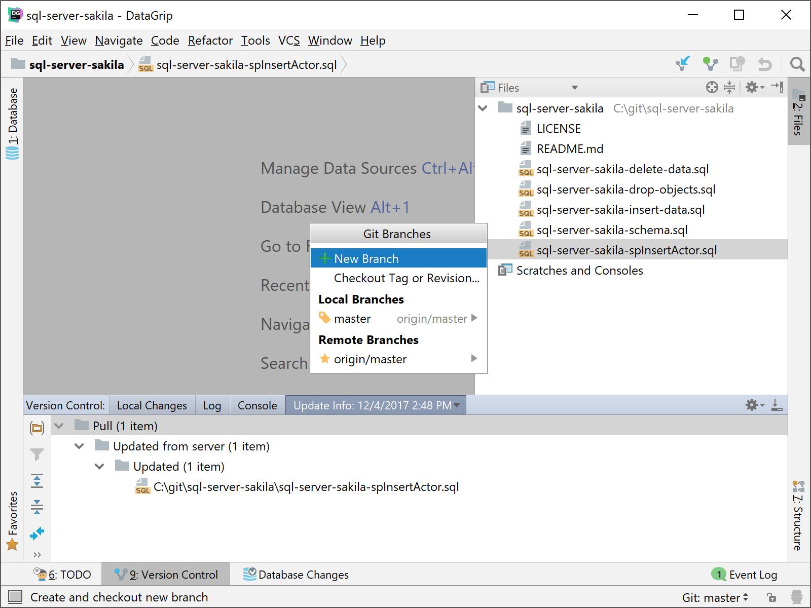 DataGrip Git Branches popup