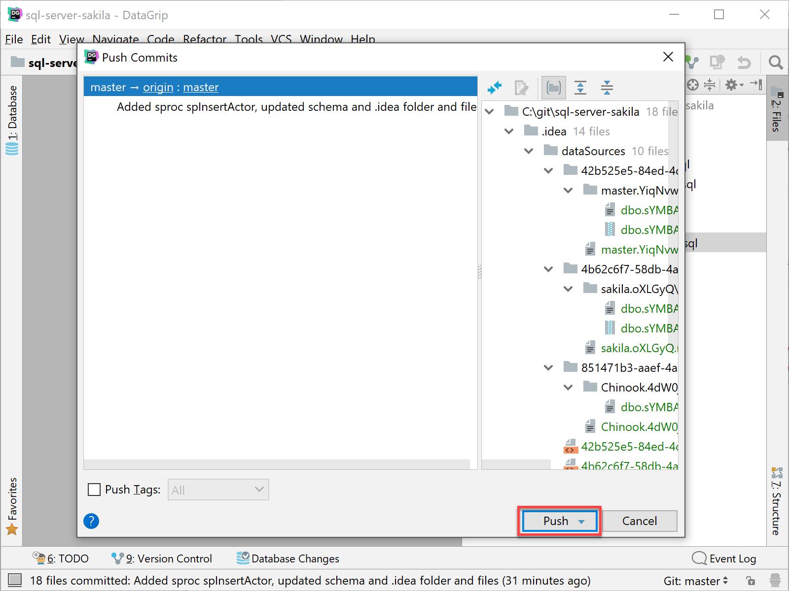 DataGrip Push commits dialog