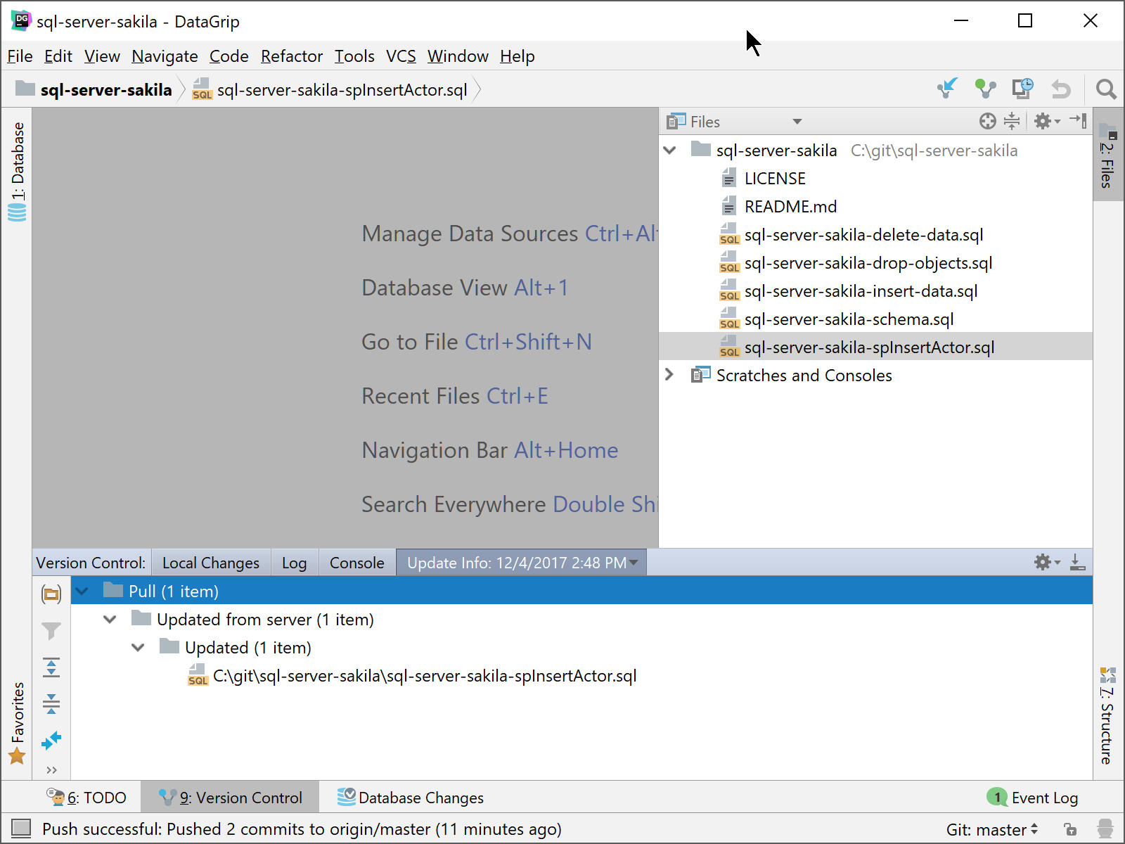 DataGrip pull in Version Control pane