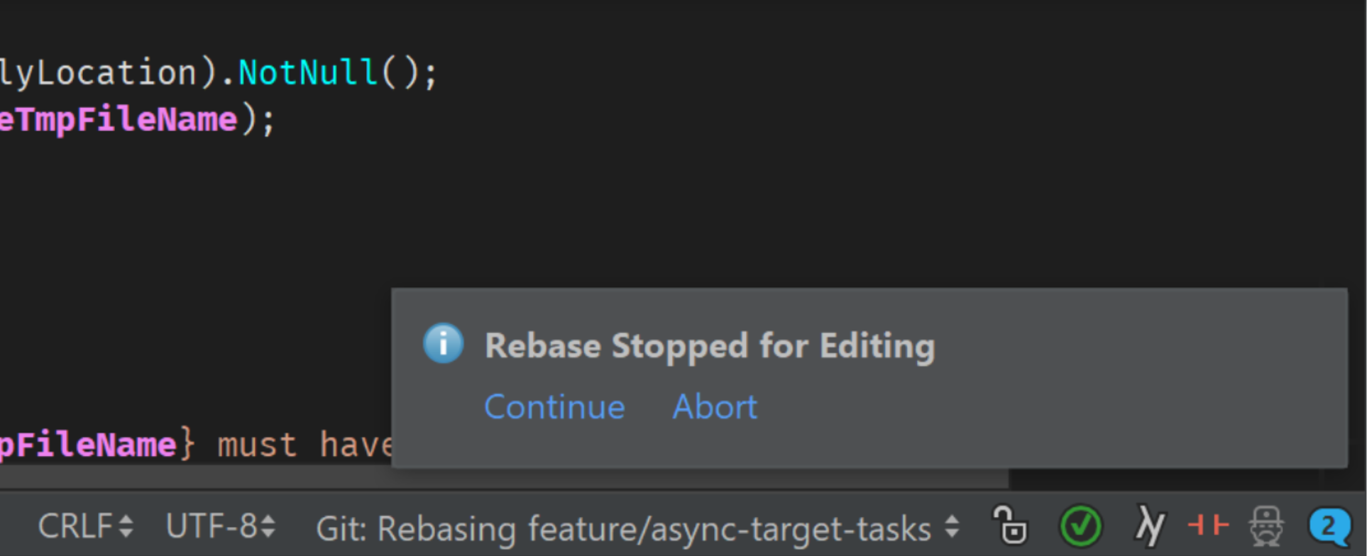 Continuing with rebase