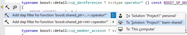 Add step filter from context menu