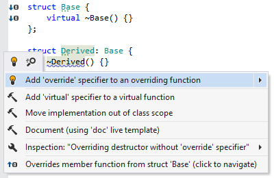 Overriding destructor without override specifier