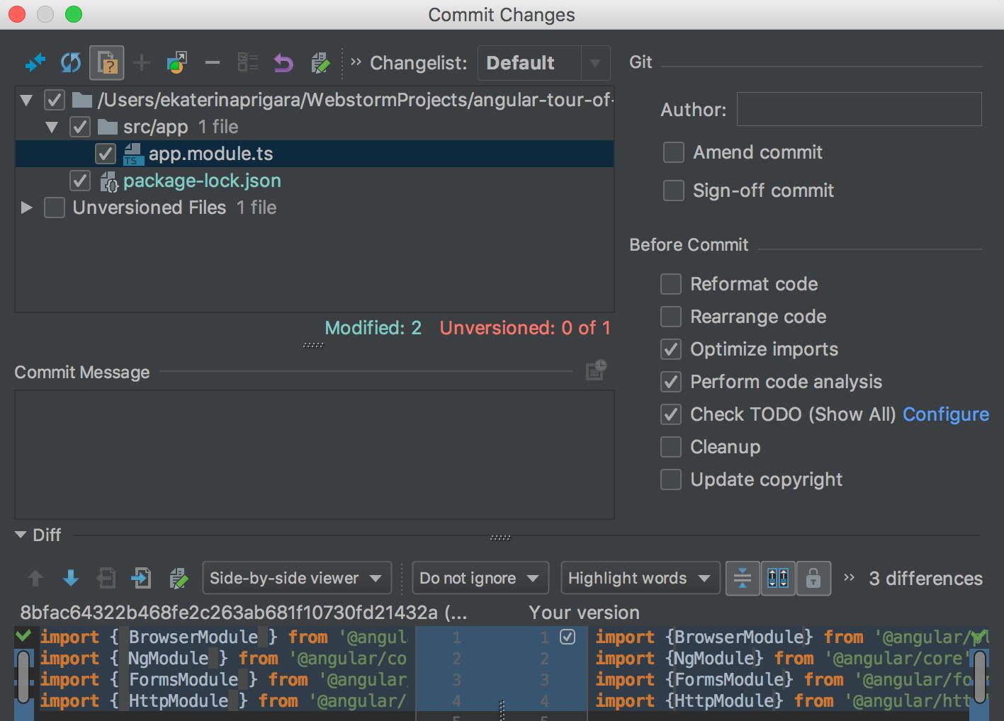 vcs-optimize-imports