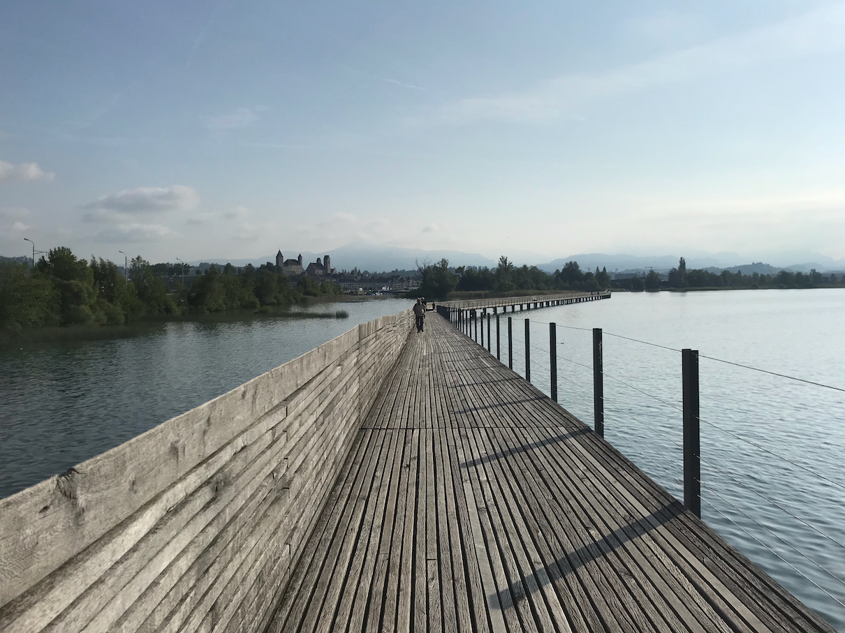 Footbridge across Lake Zurich towards Rapperswil