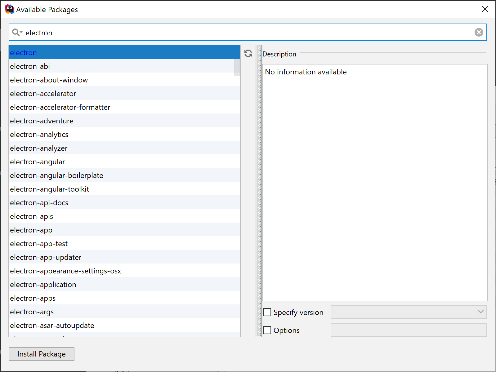 Available Packages dialog searching