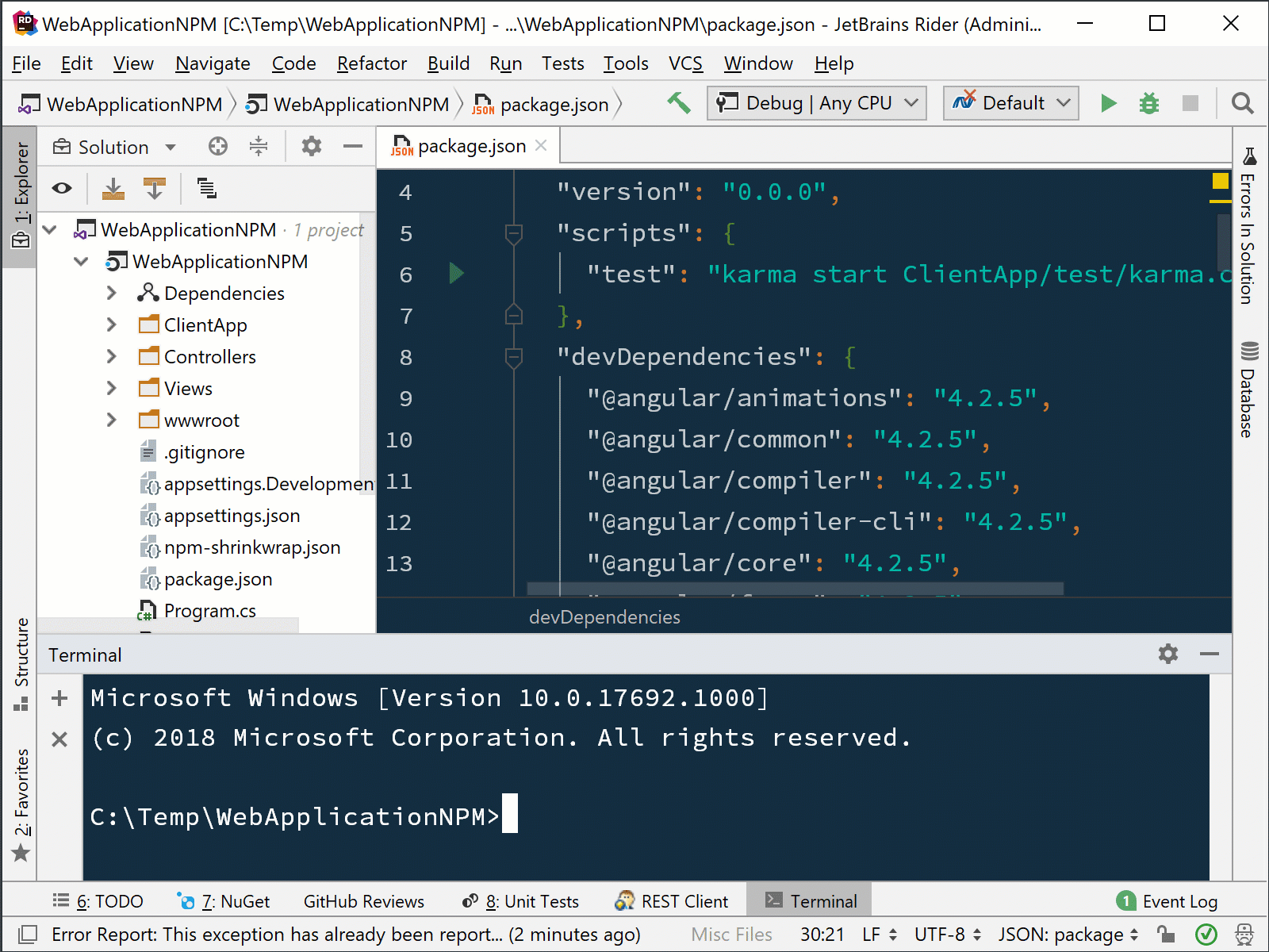 installing a package with Yarn