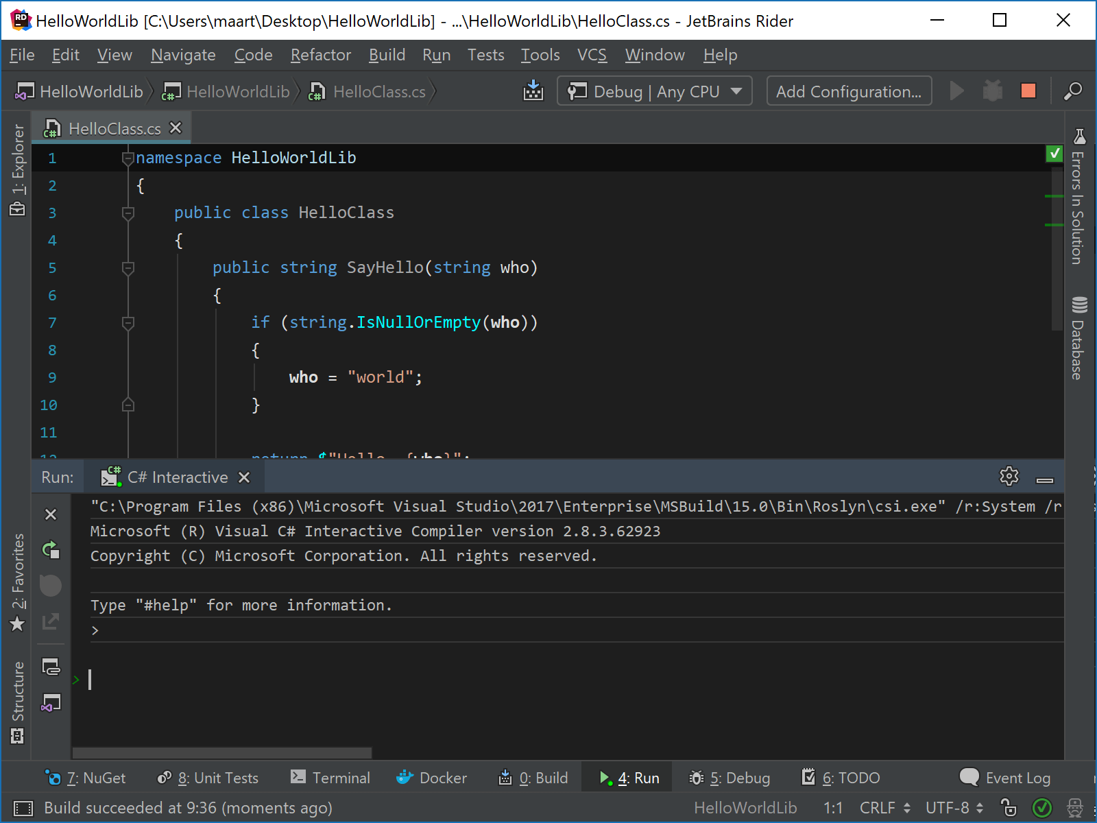 Debugging code from C# Interactive