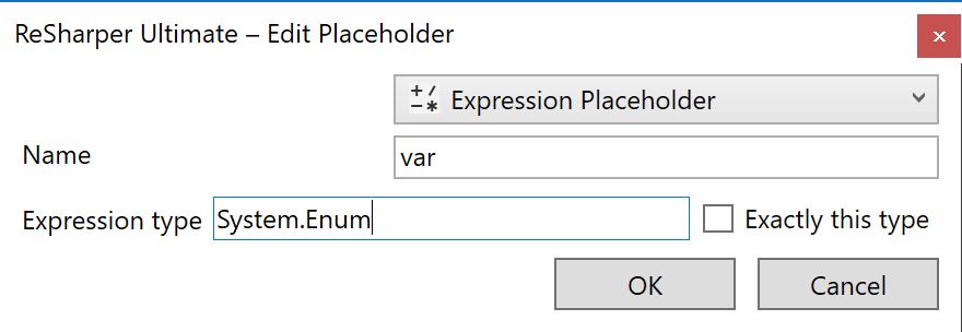 Search for expression with type
