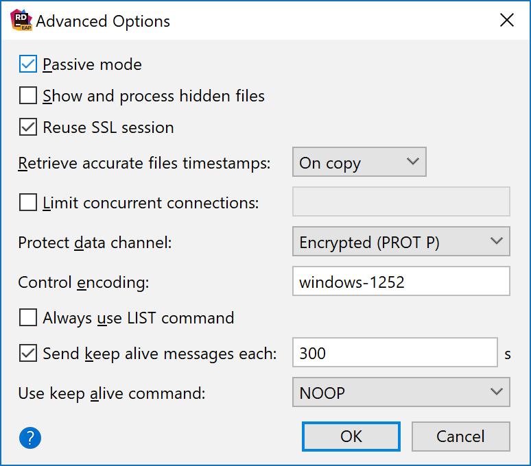 Advanced FTP options: passive mode