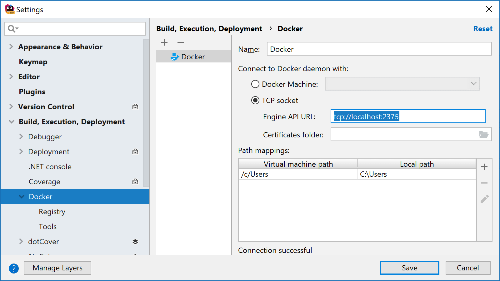 Add Docker in Rider settings