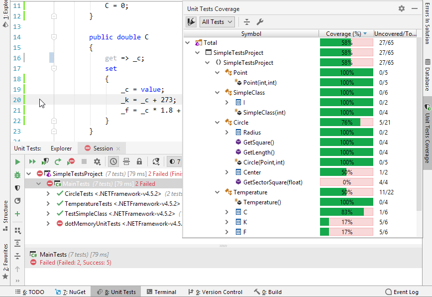 dotCover in Rider. Continuous testing