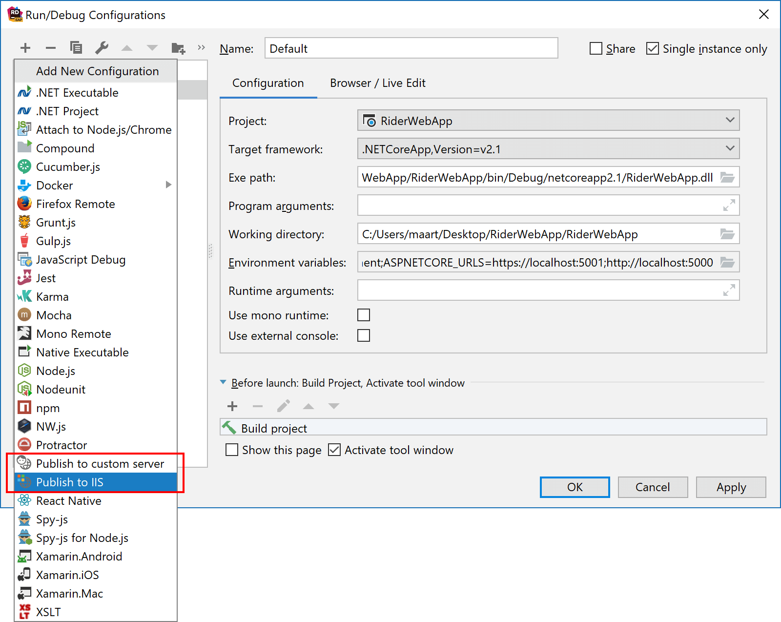 Create new run configuration for publishing a web application using Rider