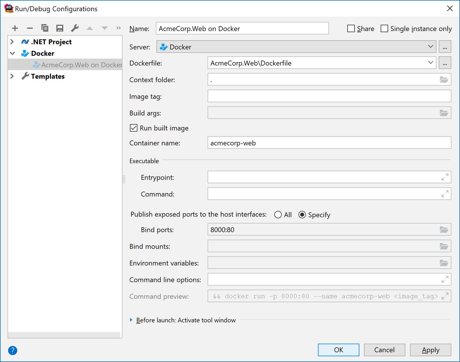 Docker run configuration