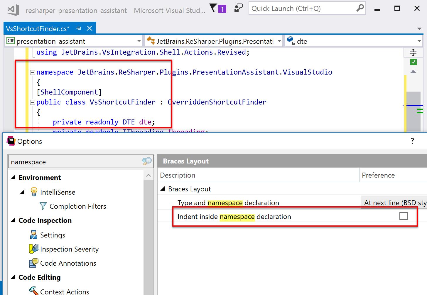 No indentation for namespace blocks